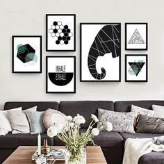 Геометрические абстрактные современная гостиная холст плакат декоративной…