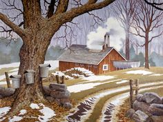 """""""Sugaring Time,"""" by my favorite artist, John Sloane Country Paintings, Cool Paintings, Beautiful Paintings, Landscape Paintings, Farm Paintings, Tree Paintings, Landscapes, Farm Pictures, Winter Pictures"""