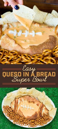 Use canned pizza dough to make an easy, football-shaped bread bowl, then fill it with a simple queso and dip away.