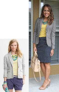 CAN USE MY NAVY POLKA-DOT SKIRT, BUT WILL HAVE TO GET A JACKET AND INNER BLOUSE IN THESE COLORS