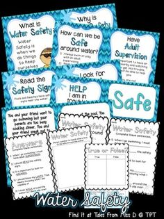 This pack contains resources to teach your students about Water Safety. The pages can be bound together to make up a book or used as posters.  Included in this pack;  1) What is Water Safety? 2) Why is Water Safety Important? 3) How can I be safe? + poster for each strategy 4) Mythbusting - Floaties 5) Help! Someone is in trouble 6) Help! I am in trouble 7) Safe and Unsafe Sort 8) 4 Worksheet Activities