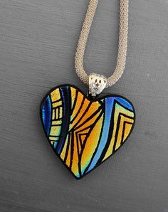 Valentine Heart Pendant Dichroic Fused Glass Hand by GlassCat