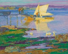 """""""Boat at Dock,"""" Edward Henry Potthast, oil on canvas, 24.5 x 30"""", private collection."""