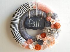 Fun and modern double wrapped wreath with chalkboard for fall. Made by Wreaths By Emma Ruth