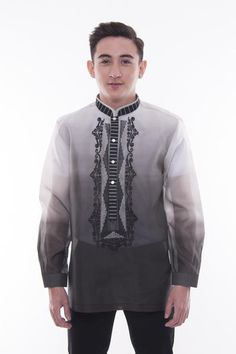 Made out of monochromatic-style Jusi, this Barong has a unique embroidered double chinese collar. Modern Filipiniana Dress, Suit Fashion, Mens Fashion, Barong Tagalog, Chinese Collar, Collar Designs, Mandarin Collar, Wedding Entourage, Wedding Attire