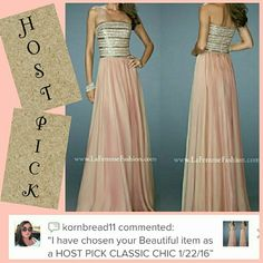 La Femme Formal Dress Gown Prom Homecoming HOST PICK!  .... A line chiffon with sequin & rhinestone bodice. #19398 color#caramel... was my daughter prom dress ... Worn 1x .. size 6 but was altered & taken in at  bust ....  she wears Size 34c 2nd&3rd are my actual photos 1st&4th are from la femme site. .... I have additional photos of dress listed on seperate listing..... La Femme Dresses Strapless