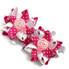 """New to CupcakesClipShop on Etsy: White & Pink Candy Lollipop 2.5"""" Hair Bows - Handmade - White Pink Handmade Hair Bows - No Slip - Made To Order (5.00 USD)"""