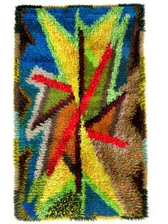 Mid Century Abstract Scandinavian Modern Handmade Swedish Rya Rug