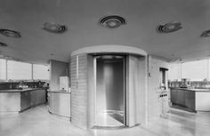 Image 14 of 35 from gallery of AD Classics: SC Johnson Wax Research Tower / Frank Lloyd Wright. Photograph by Ezra Stoller/Esto Johnson Wax, Round Stairs, Brick Face, Frank Lloyd Wright Buildings, Iron Stair Railing, Stair Lighting, Wooden Stairs, Interior Stairs, Big Houses