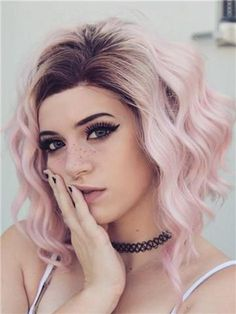 Pink Ombre Wavy Lob Synthetic Lace Front Wig - All Synthetic Wigs Brown Ombre Hair, Ombre Hair Color, Purple Hair, Black Ombre, Hair Colors, Bob Lace Front Wigs, Synthetic Lace Front Wigs, Synthetic Wigs, Frontal Hairstyles
