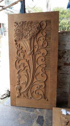 Wooden Main Door Design, Door Gate Design, Wood Headboard, Unique Doors, Window Art, Wood Carving, Appliances, Windows, House