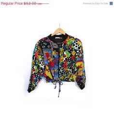 Vintage 80s Ladies Black Silk Colorful Bomber Jacket M by LoveAiko ...