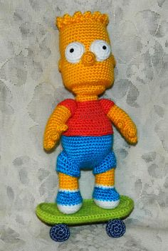 "I'm Bart Simpson!"" My Bart likes skateboarding! Ravelry: Bart Simpson with Scateboard pattern by Elena Pichugina Amigurumi Patterns, Amigurumi Doll, Doll Patterns, Crochet Patterns, Knitted Dolls, Crochet Dolls, Crochet Baby, Crochet Disney, Bart Simpson"