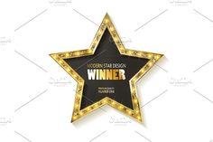 Shiny golden winner label design by nastyaaroma on @creativemarket