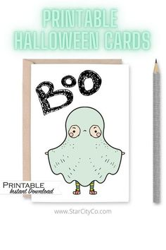 This pastel ghost cutie is ready to help you say 'boo!' Perfect to put in boo bags, use as halloween invites, put in your kids lunch box, write thank you notes or for your kid to simply write Happy Halloween to his/her friends! #printables #cuteghost #halloween #boobags #halloweencard