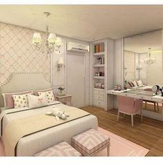Inspiração para quarto feminino com bancada de make! Sonho de toda menina! Projeto by AC Arquitetura @bloghomeluxo @homeluxoimoveis #interior #interiores #olioliteam #olioli #bloghomeluxo #decor4home #decor #decoracao #design #decoration