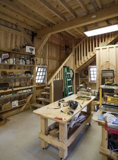 Barn workshop with loft area and plenty of space for projects!  www.sandcreekpostandbeam.com https://www.facebook.com/SandCreekPostandBeam