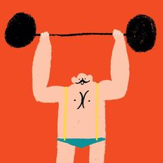 Rob Hodgson, Strongman via Circus Illustration, Pattern Illustration, Character Illustration, Graphic Illustration, Funny Illustration, Art Design, Book Design, Illustration Mignonne, Guache