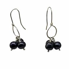 Black Pearl Cluster Earrings on Sterling Silver Hoop | leannefdesigns Cluster Earrings, Drop Earrings, Hand Wrap, Sterling Silver Hoops, Precious Metals, Handcrafted Jewelry, Gemstones, Pearls, Black