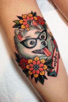 """Where was your first job? """"My first job is my current job! I started apprenticing under the owner of my shop, Craig Rodriguez, in June 2011, and I've been here ever since.""""How would you describe your tattoo style? """"Bold, bright, and graphic. I do a lot of American traditional-inspired pieces, but I'm working on learning more Japanese, as well."""""""
