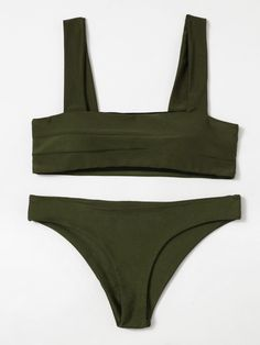 Shop Double Wide Strap Bikini Set online. SheIn offers Double Wide Strap Bikini Set  more to fit your fashionable needs.
