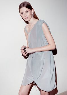 Asymmetric silk dress | Grey | & Other Stories
