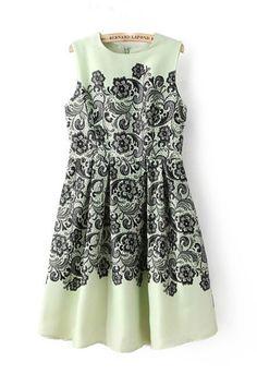 macchina mint + black vintage inspired floral dress