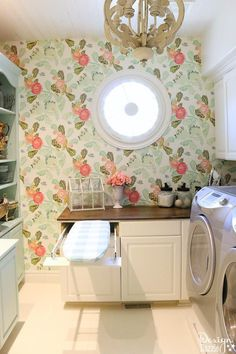 Laundry room combo - Week 5 - Design Dazzle This post shows how to create a swing door out . Laundry room combo – Week 5 – Design Dazzle This post shows how to create a swing door out of Pantry Laundry Room, Laundry Room Remodel, Laundry Room Design, Laundry Rooms, Mud Rooms, Laundry Drying, Small Laundry, Laundry Room Wallpaper, Iron Doors