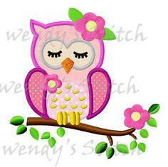 Cute sleeping girl owl applique machine embroidery by WendysStitch, $1.99