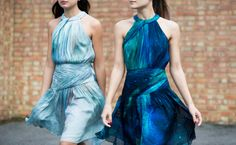 Double impact. Pair swirling skirts with swirling skies in the patina galaxy print. Blue silk party dresses by Matthew Williamson #AW15 #ohMW