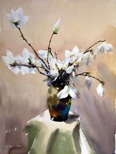 """https://www.facebook.com/MiaFeigelson """"Magnolia"""" (玉兰花) By Wuxing Liang (吴兴亮), from China (b. 1954) - watercolor -"""