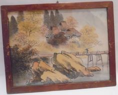 ANTIQUE ASIAN PAINTING Silk Landscape Bridge Homes Trees 18th 19th Century Wood Framed Japanese Chinese by MADONNASCOLLECTIBLES on Etsy