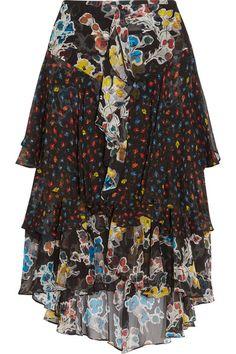 Jason Wu - Ruffled Floral-print Silk-chiffon Midi Skirt - Black