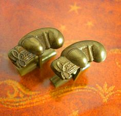 Vintage GOLDEN Boxing GLOVES Cufflinks Set athletic sports fan gift Mens novelty signed KIM brass Jewelry martial arts boxer. They would be
