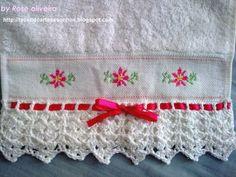 Tecendo Artes em Crochet: Toalhas Bordadas - Ponto Cruz
