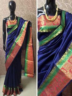This Blue Banarasi Crystal Silk Saree is an outfit worth admiring. This Banarasi Silk Saree With Gold Zari work spread across the Borders and the length of the Pallu for an opulent effect. Banarsi Saree, Georgette Sarees, Silk Sarees, Net Saree, Saree Tassels, Plain Saree, Blue Saree, Maroon Color, Saree Styles