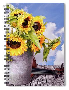 """This x spiral notebook features the artwork """"Sunflowers with violin and clouds"""" by Mihaela Pater on the cover and includes 120 lined pages for your notes and greatest thoughts. Robert May, Notebooks For Sale, Tablet Cover, Lined Page, Art Pages, Basic Colors, How To Be Outgoing, Custom Framing, Color Show"""