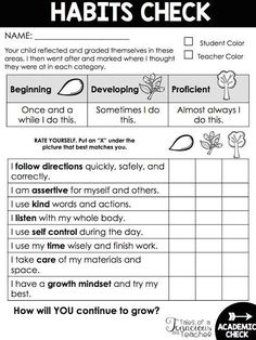 FREE Parent Teacher Conference and Report Card Habits Checklist. Perfect for Leader in Me classrooms!