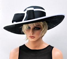 Excited to share the latest addition to my #etsy shop: Kentucky Derby Hat, Wedding Hat, Derby Hat, Ascot Hat, Black and White hat, Occasion Hat http://etsy.me/2n4dkoI #accessories #hat #black #white #kentuckyderbyhat #weddinghat #derbyhat #ascothat #widebrimhat