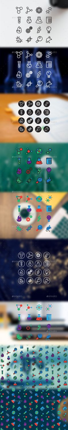 Buy 16 Science Icons by barsrsindshop on GraphicRiver. 16 Science Icons contains 16 vector science and laboratory icons in different views: only lines, lines with un. Icon Design, Web Design, Logo Design, Graphic Design, Science Icons, App Icon, Icon Set, Chemistry, Small Tattoos