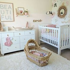 We are totally crushing on this baby girls nursery this evening featuring our brand new Reva basket by Olliella. If you're after a little something different for a baby change area this beautiful basket is perfect  We have them available now for pre order at the link in our bio with expected delivery by the end of the month.   Stunning image via @littlewillemsens