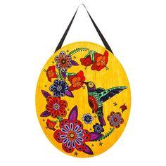 Hummingbird Hibiscus Felt Door Decor