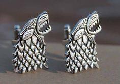 Handmade Game of Thrones Cufflinks Inspired by Direwolf and Three-Headed Dragon