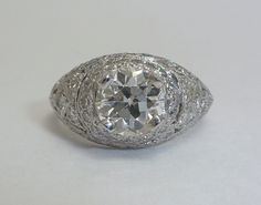 Hand Engraved 2.04ct EGL Certified Diamond Ring in Platinum
