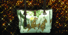 Polo Handbag in pale blue or stone, Italian leather with vintage design linen and moleskin lining.