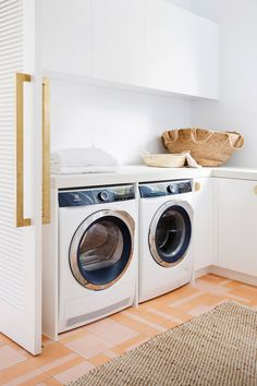 Laundry—House By Three Birds Renovations x Sophie Bell, featuring Dulux White on White. Zara Home, Dulux White, Louvre Doors, Three Birds Renovations, The Beach People, Laundry Room Inspiration, Pink Tiles, Interior And Exterior, Interior Design