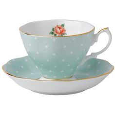 Royal Albert Polka Rose Vintage Teacup & Saucer ❤ liked on Polyvore featuring home, kitchen & dining, drinkware, fillers, food, kitchen, decor, vintage tea cups, bone china and rose tea cup
