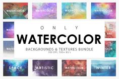 Only Watercolor Backgrounds Bundle by ArtistMef on @creativemarket
