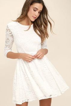 White Lace Skater Dress With Sleeves http://www.top-dresses.com/white-lace-skater-dress-with-sleeves-1459/