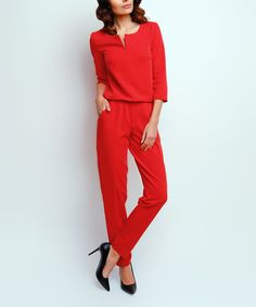 Another great find on #zulily! Red Notch Neck Jumpsuit #zulilyfinds